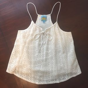 C&C California Cream Lace Crochet Tank Top Size M